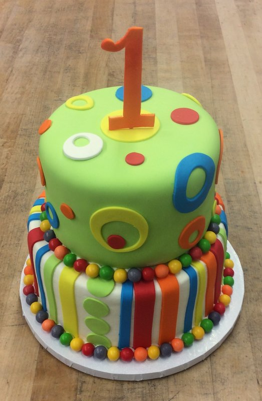 Polka Dot Party Cake with Stand Up Number 1