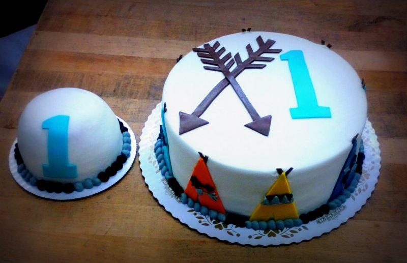 First Birthday Cake with Arrow Decoration