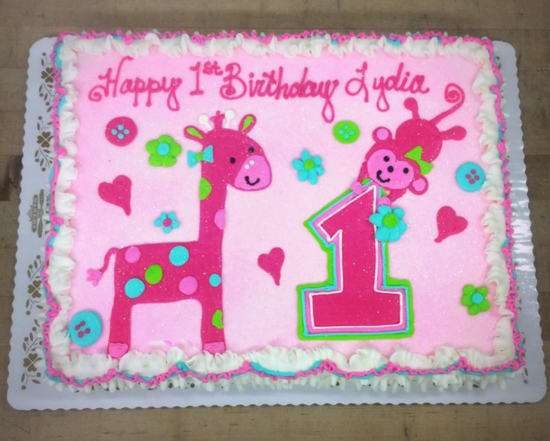 First Birthday Sheet Cake With Monkey And Giraffe