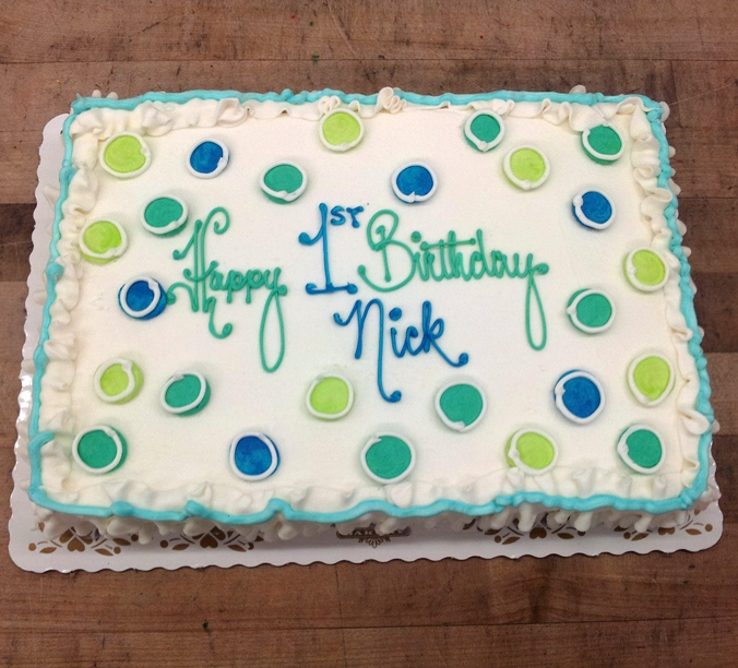 Blue and Green Polka Dot Sheet Cake