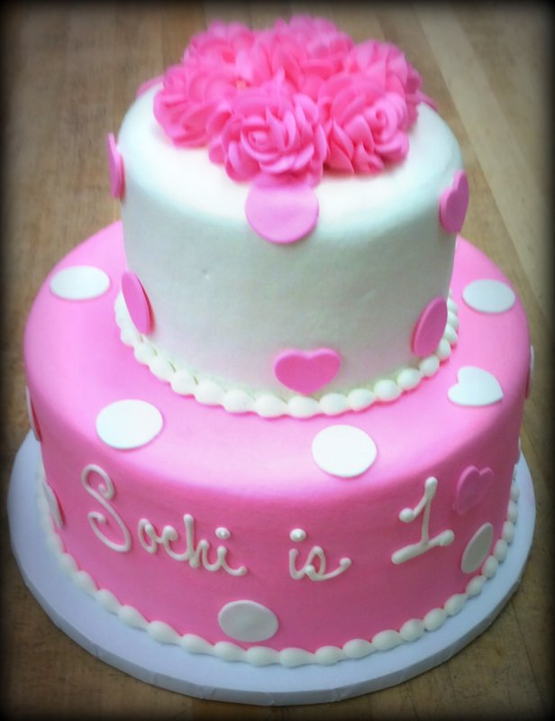 Pink Party Cake with Fondant Polka Dots and Hearts