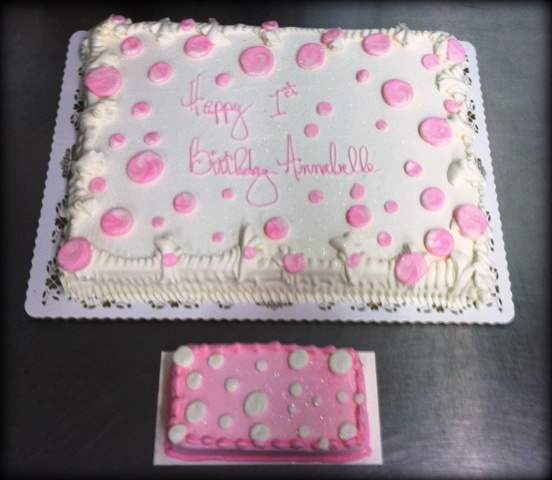 Pink Polka Dots Sheet Cake and Mini Cake