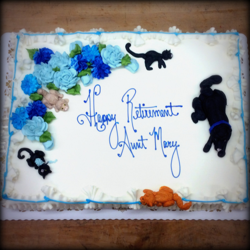 Retirement Sheet Cake with Piped Cats