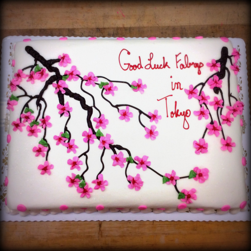 Sheet Cake with Cherry Blossoms