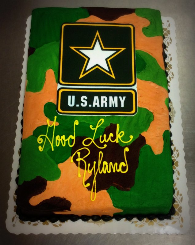 U.S. Army Cake with Camouflage Decoration