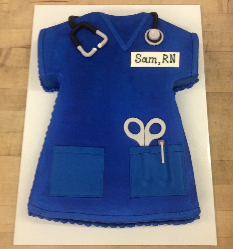 Nurse Scrub Top Shaped Cake