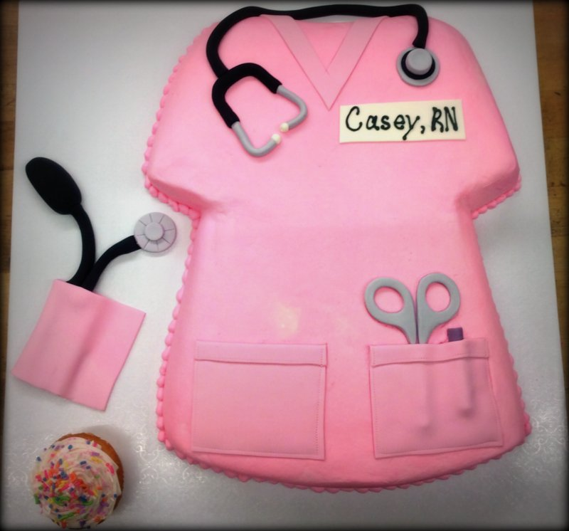 Nurse Scrub Top Shaped Cake with Cupcake