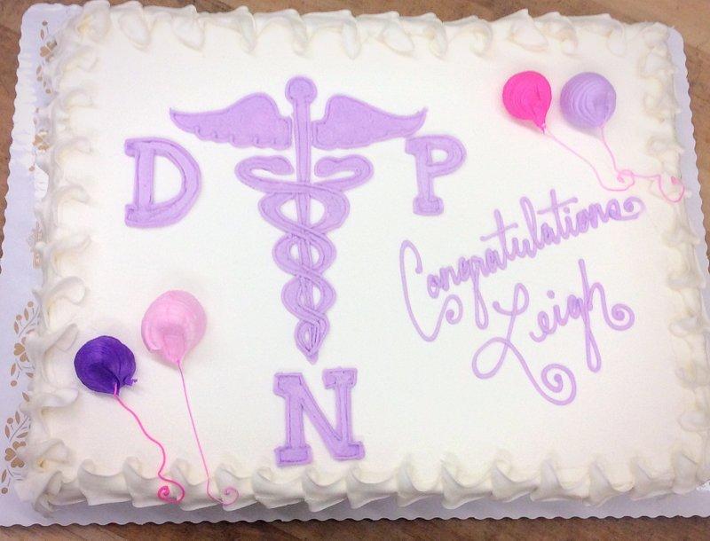 Graduation Sheet Cake with Medical Symbol