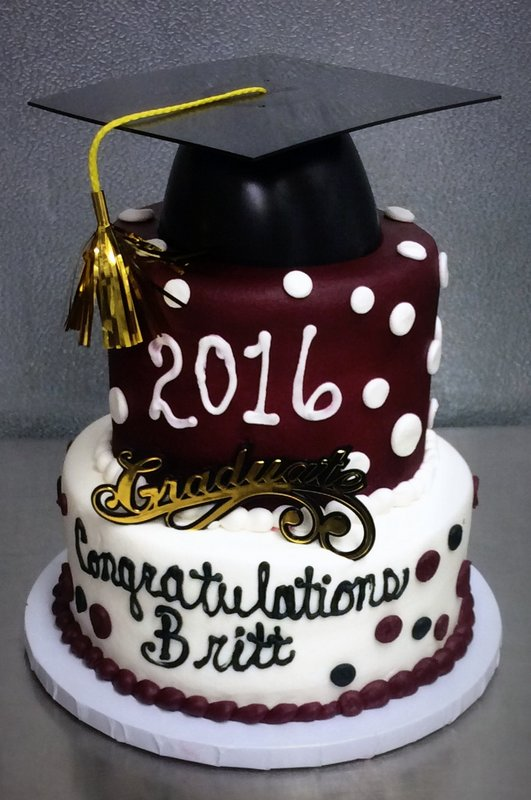 Chocolate and White Graduation Party Cake with Polka Dots