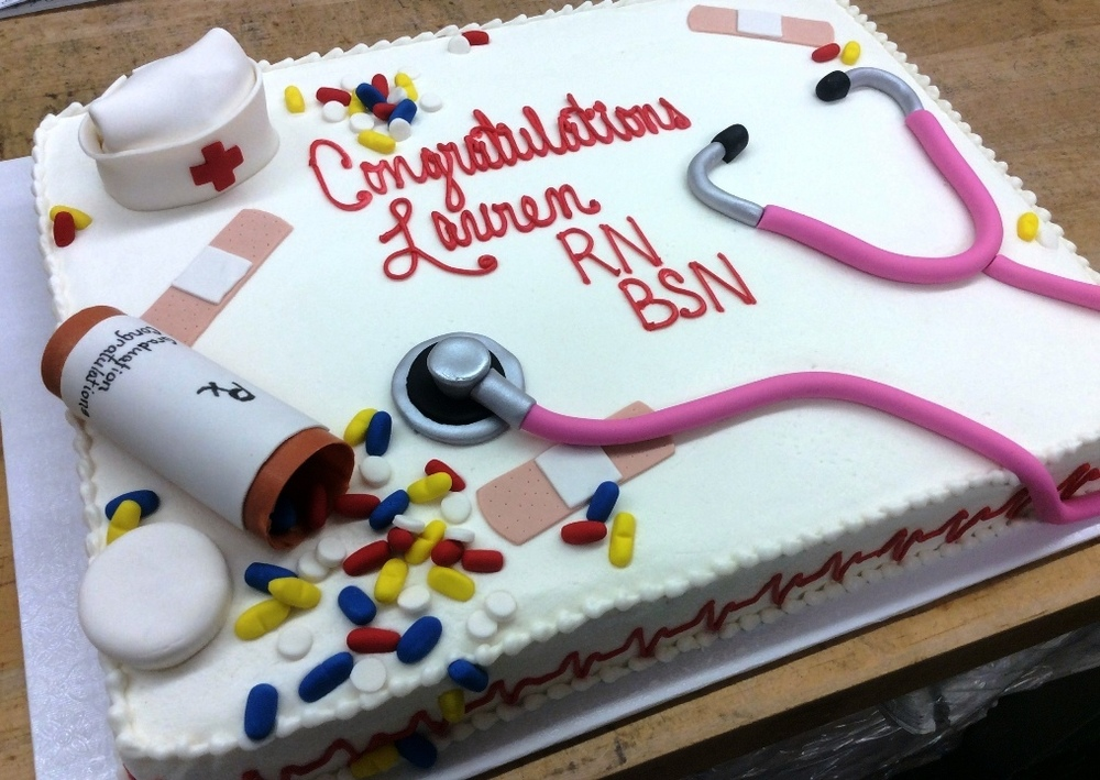 Sheet Cake with Fondant Nurse Decorations