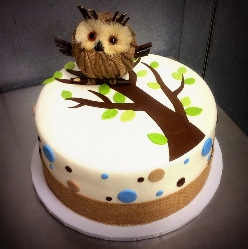 Round Cake with Polka Dots and Owl Decoration