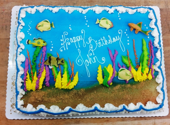 Underwater Sheet Cake with Fish