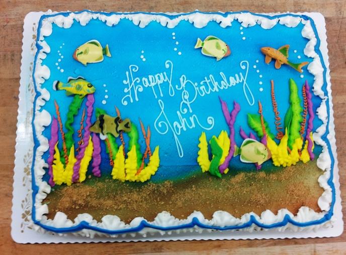 Underwater Sheet Cake with Fish