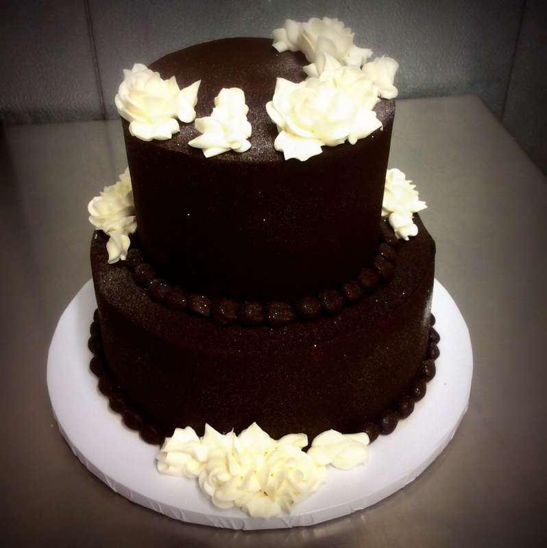 Chocolate Party Cake with White Flowers