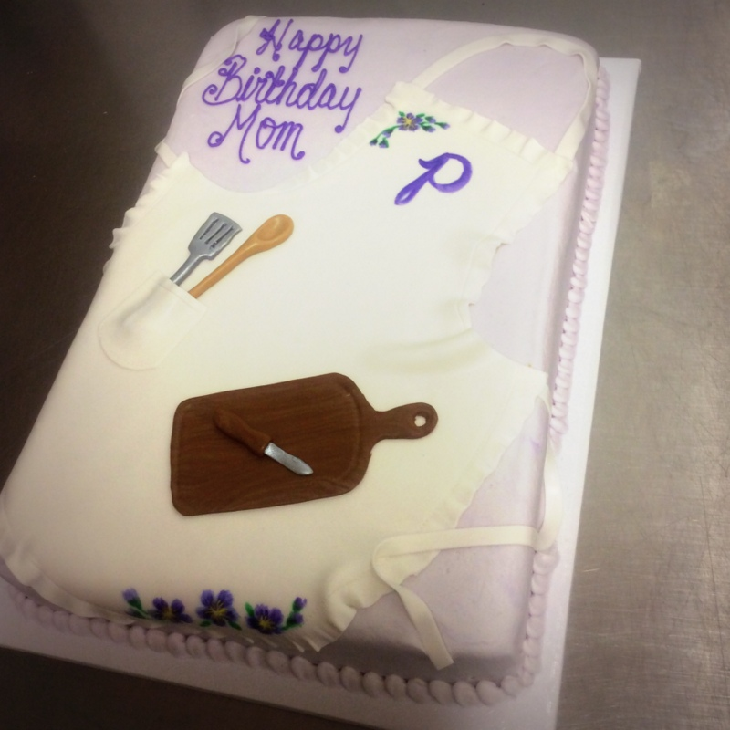 Sheet Cake with Apron and Cutting Board