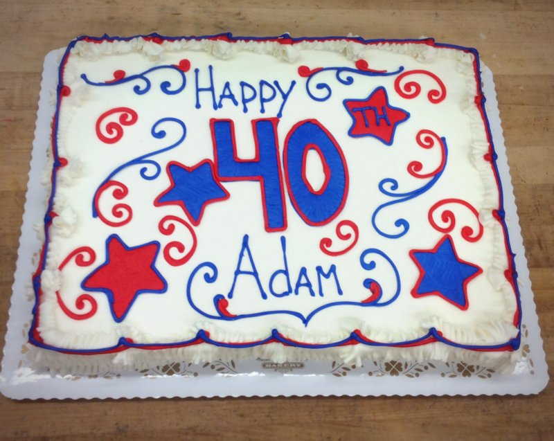 Sheet Cake with Large Piped Number and Stars