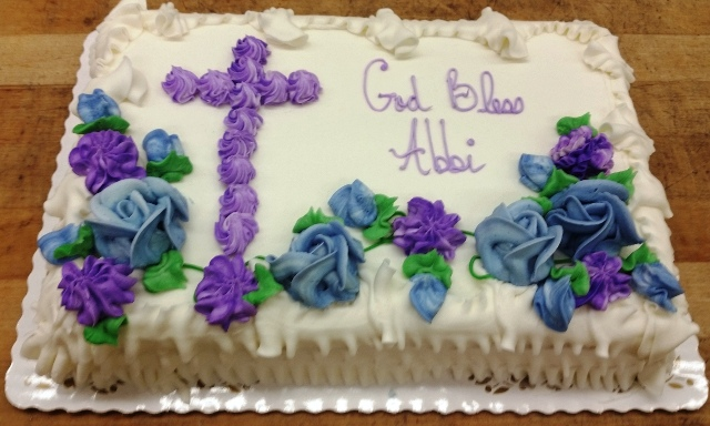 Sheet Cake with Purple Cross and Flowers