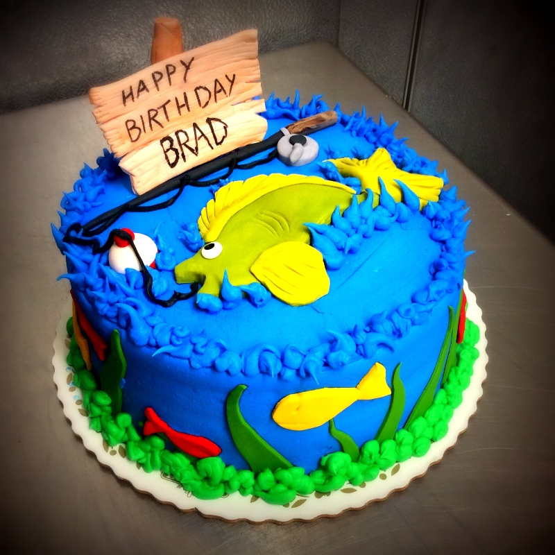 Blue Fishing Birthday Cake