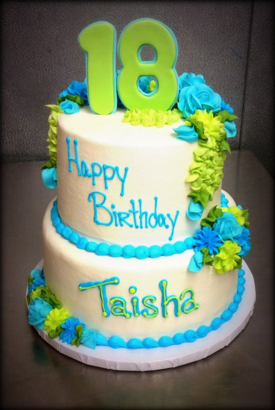 18th Birthday Green and Blue Party Cake