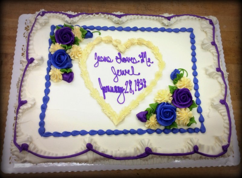 Religious Sheet Cake with Piped Heart