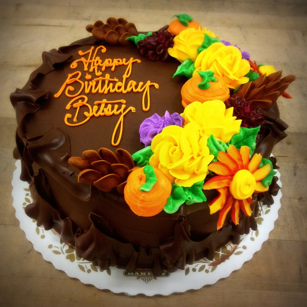 Chocolate Birthday Cake with Fall Flowers