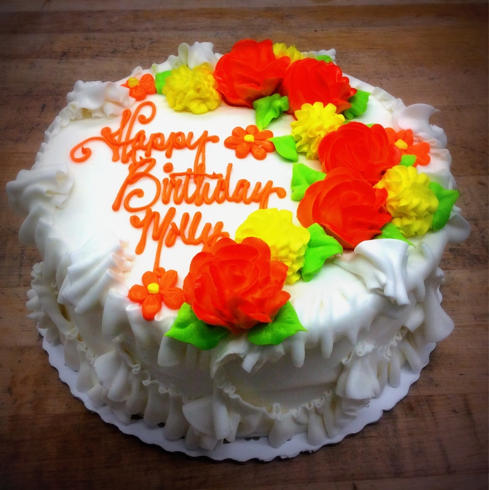 Birthday Cake with Orange Flowers