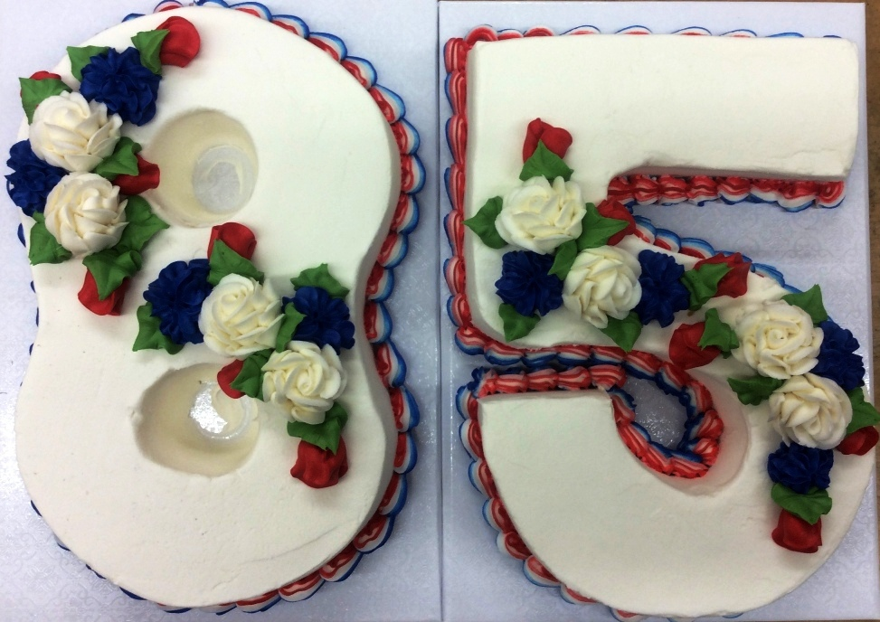 Number Shaped Cake with Red, White & Blue Flowers
