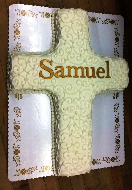 Cross Shaped Cake with Scroll Work and Gold Name