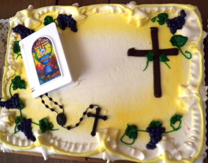 Sheet Cake with Rosary and Wooden Cross