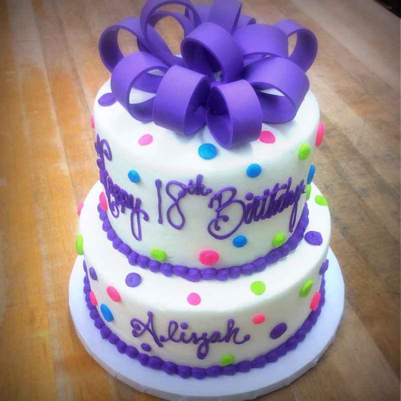 Party Cake with Polka Dots and Fondant Bow