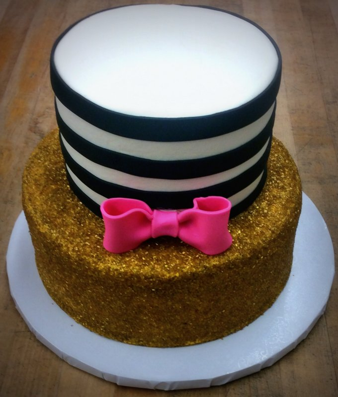 Gold, Pink, and Black Party Cake with Bow