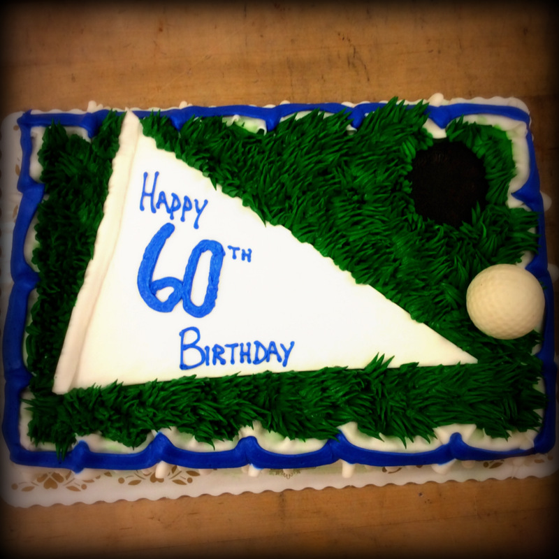 Golf Sheet Cake with White Chocolate Golf Ball