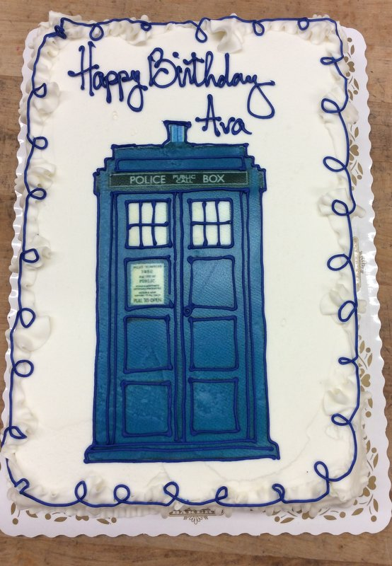 Sheet Cake with Doctor Who Tardis Photoscan