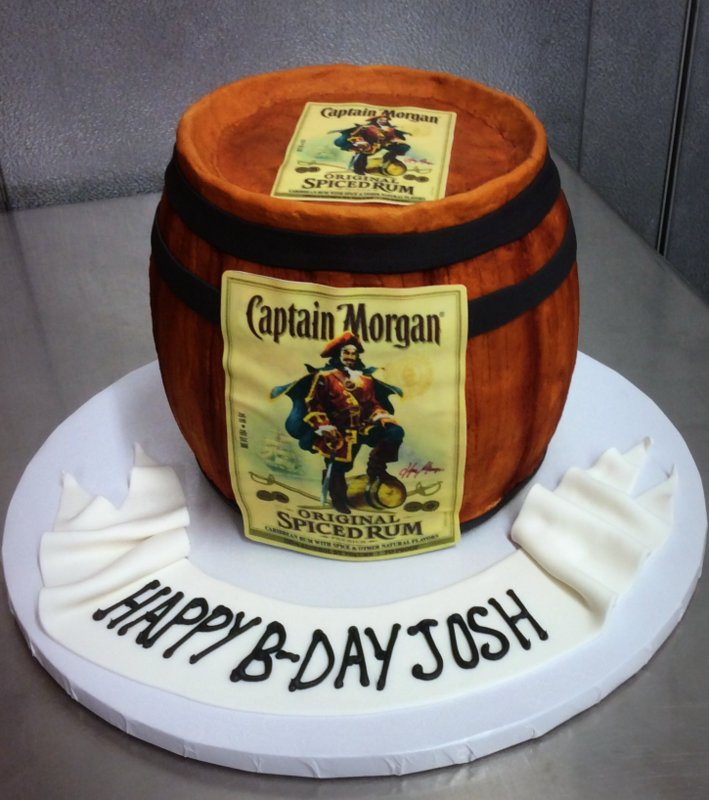 Captain Morgan Barrel Shaped Cake