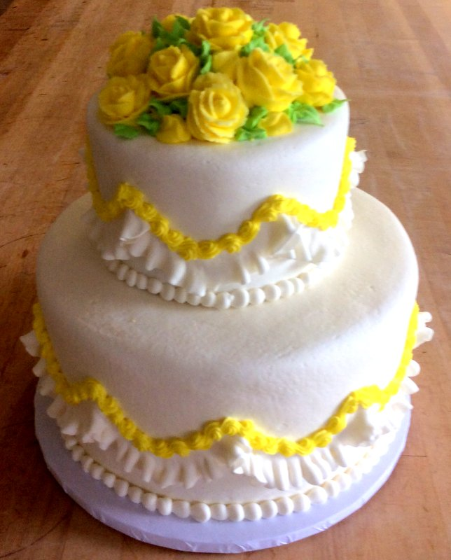Party Cake with Yellow Flower Mound