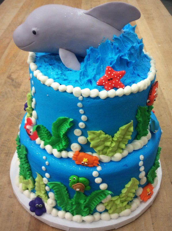 Under the Sea Party Cake with Fondant Dolphin