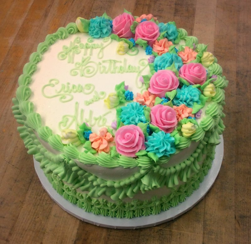 Mint Green and Spring Flowers Cake