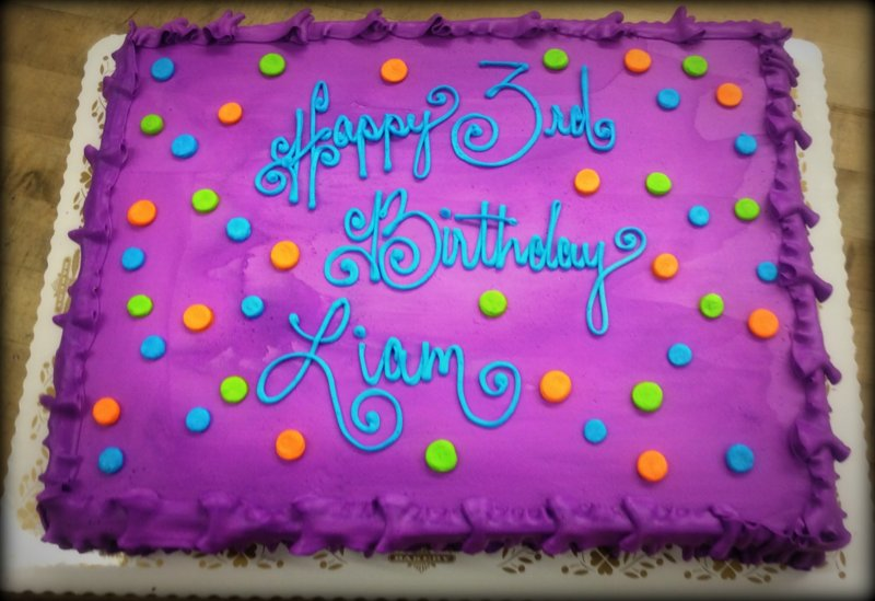 Purple Sheet Cake with Polka Dots