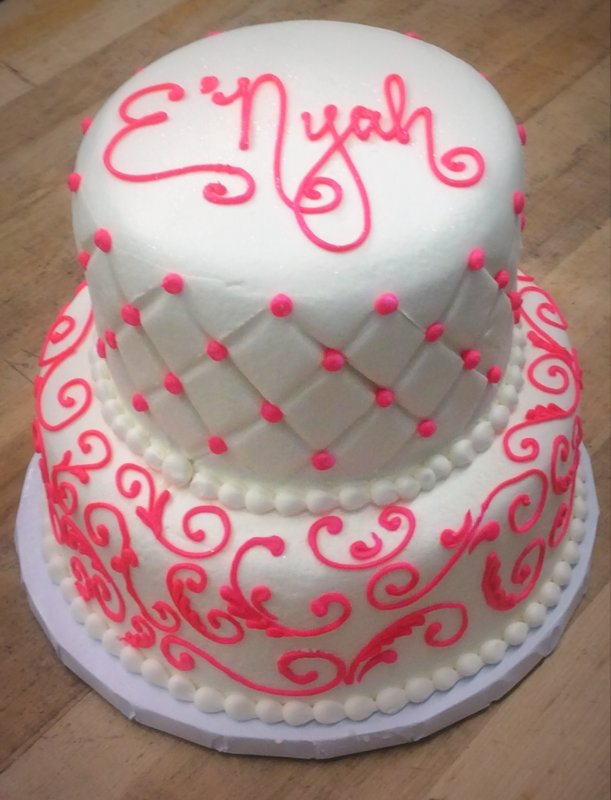 Party Cake with Quilted Sides and Scrollwork