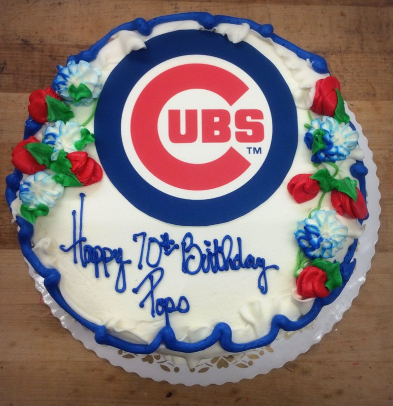Round Chicago Cubs Birthday Cake