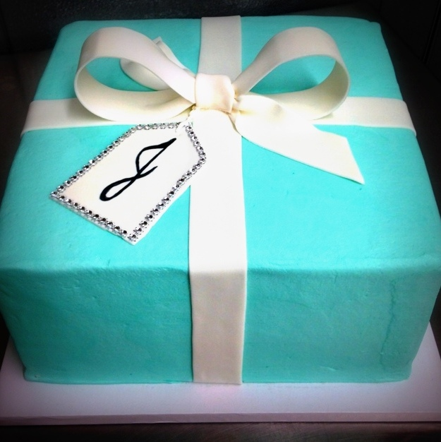 Tiffany Box Square Cake with Tag
