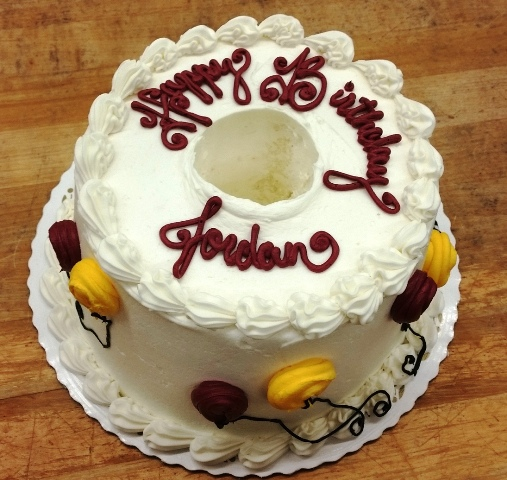 Decorated Angel Food Cake with Balloons