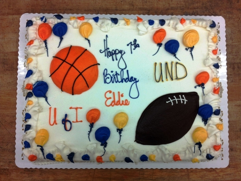 Sheet Cake with piped Basketball and Football