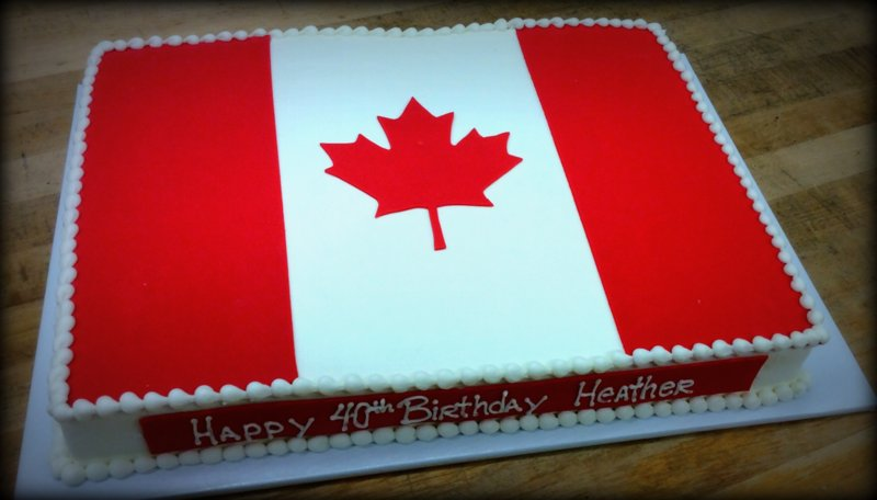 Canadian Flag Sheet Cake