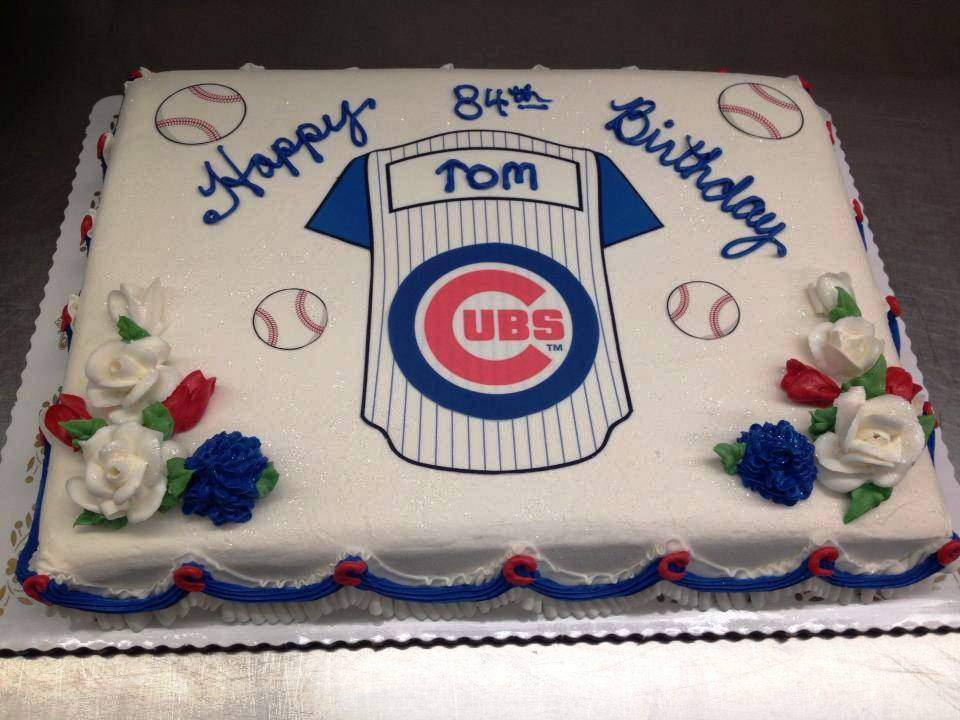 Sheet Cake with Personalized Baseball Jersey