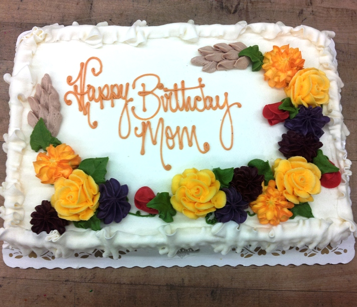 Sheet Cake with Fall Flowers
