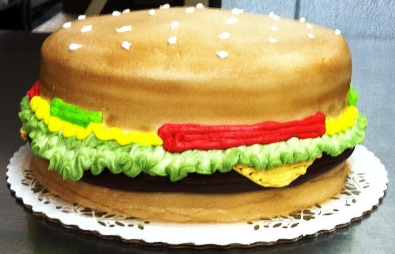 Round Cheeseburger Cake