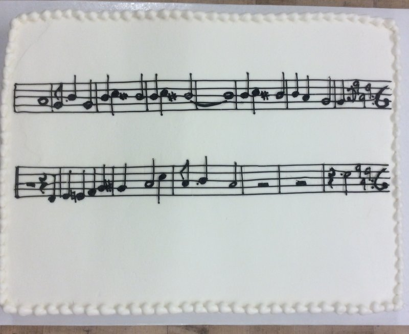 Sheet Cake with Piped Sheet Music