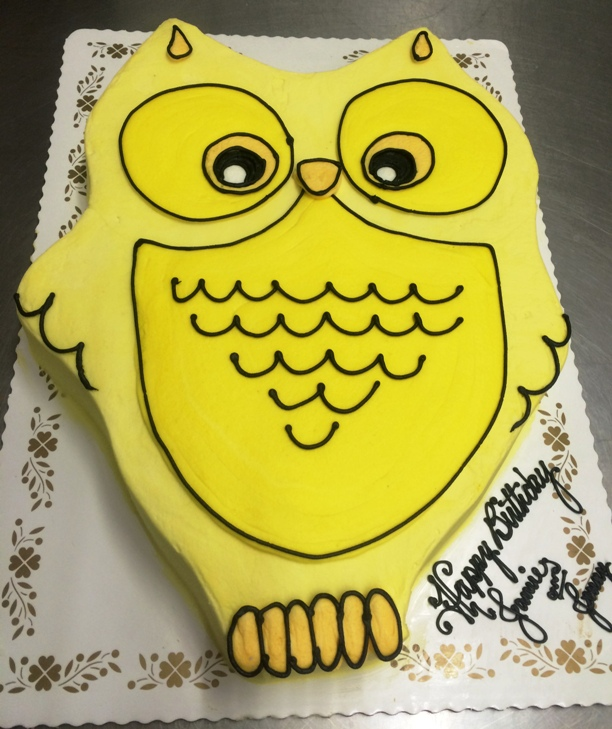 Yellow Owl Shaped Cake