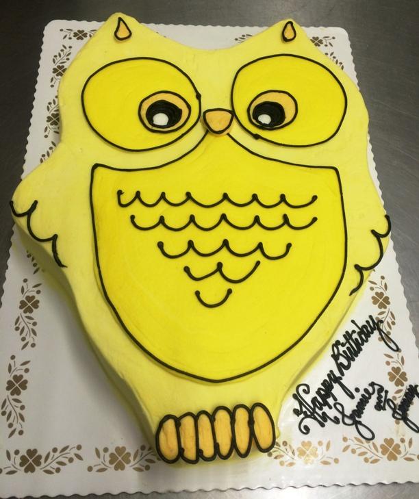 Yellow Owl Shaped Cake